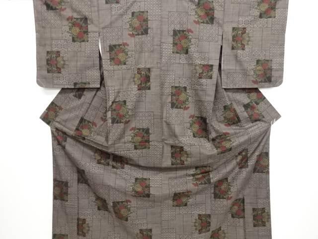 未使用品 仕立て上がり 色紙に菊模様織り出し本場泥大島紬着物(5マルキ)【送料無料】