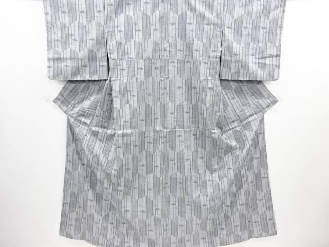 リサイクル 亀甲に竹笹模様織り出し手織り紬着物【送料無料】