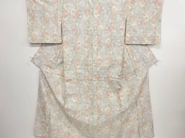 リサイクル 亀甲に花模様織り出し十日町紬着物【送料無料】