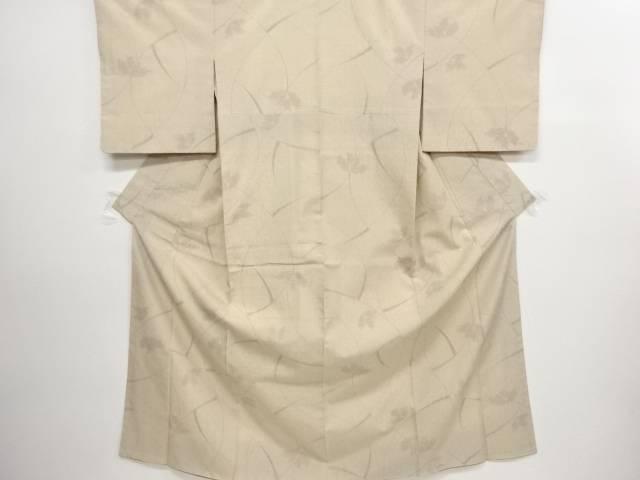 リサイクル 抽象草花模様織り出し手織り節紬着物【送料無料】