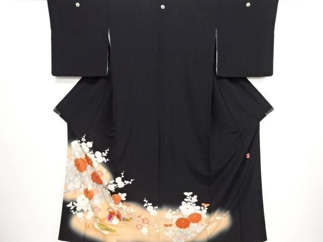リサイクル 作家物 枝梅に菊・鴛鴦模様刺繍留袖(比翼付き)【送料無料】