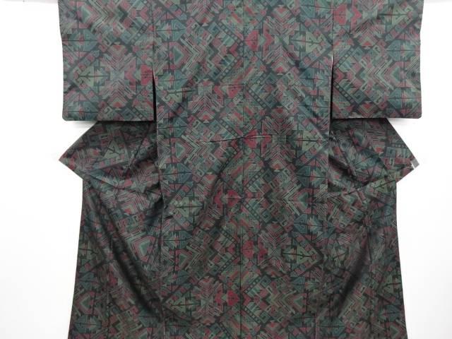 リサイクル 幾何学模様織り出し本場泥大島紬着物・道中着アンサンブル【送料無料】
