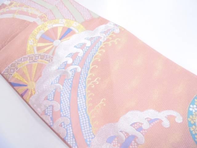 リサイクル 波車に花・古典柄模様織出し袋帯【送料無料】