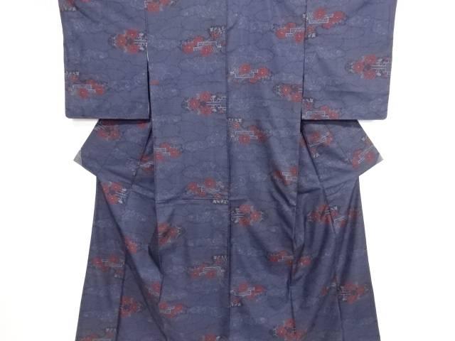 リサイクル 雲取に花模様織り出し本場泥大島紬着物(5マルキ)【送料無料】