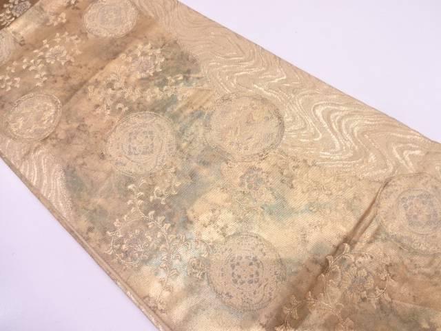 リサイクル 流水に華紋・唐草模様織出し袋帯【送料無料】