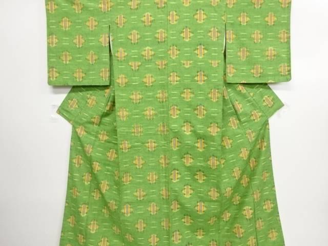 リサイクル 未使用品 松皮菱に縞模様織り出し手織り真綿紬着物【送料無料】