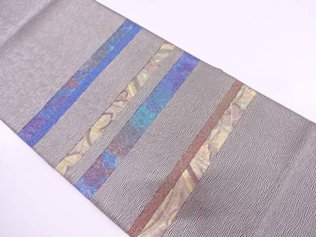 リサイクル すくい織切り嵌めに横段・花模様織出し袋帯【送料無料】