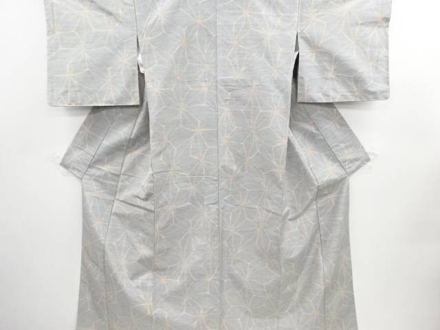 未使用品 仕立て上がり 変わり麻の葉織り出し手織り真綿紬着物【送料無料】