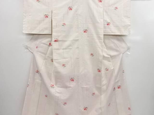 リサイクル 未使用品 花に十字絣手織り節紬着物【送料無料】