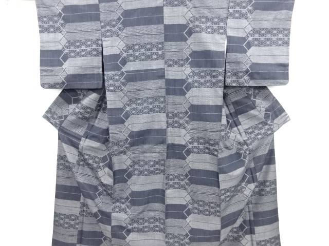 リサイクル 幾何学に麻の葉模様織り出し十日町紬着物【送料無料】
