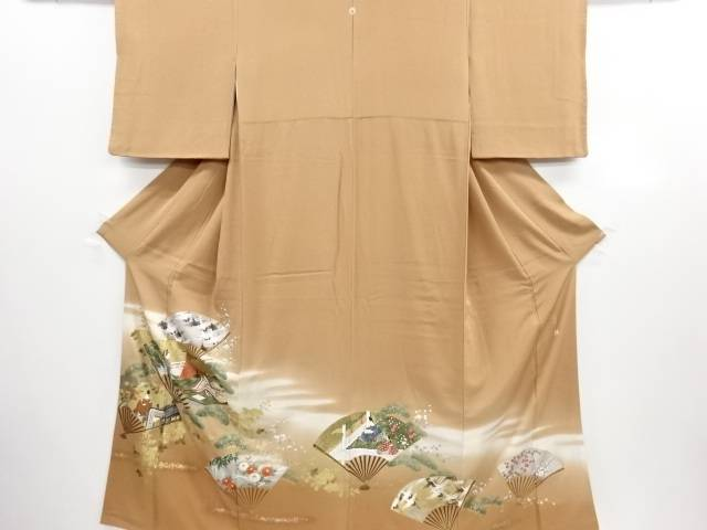 リサイクル 作家物 金彩「王朝遊美」織り出し一つ紋色留袖(比翼付き)【送料無料】
