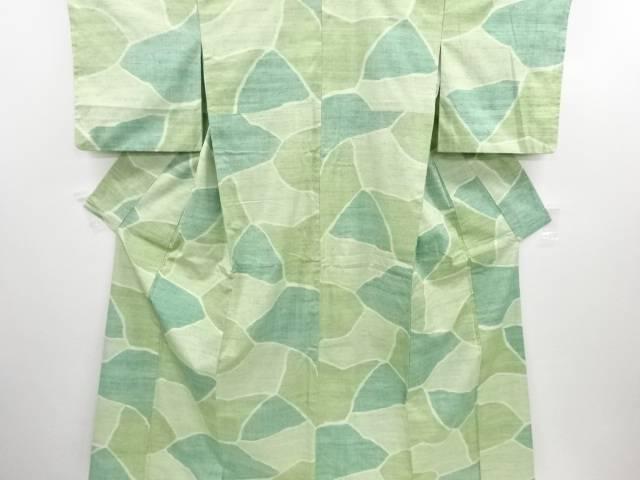 リサイクル 石畳模様織り出し手織り真綿紬着物【送料無料】