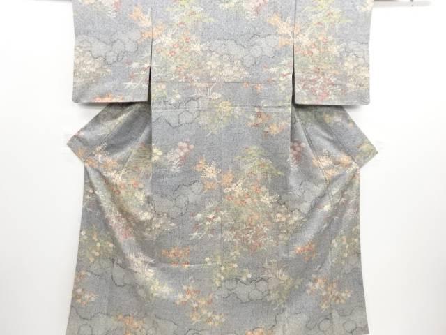 リサイクル 疋田雲に松竹梅模様手織り真綿紬付け下げ着物【送料無料】