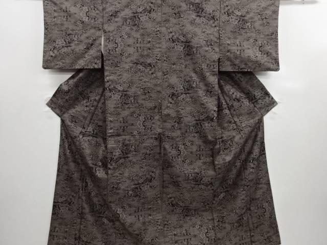 リサイクル 流水に四季草花模様織り出し本場泥大島紬着物(9マルキ)【送料無料】