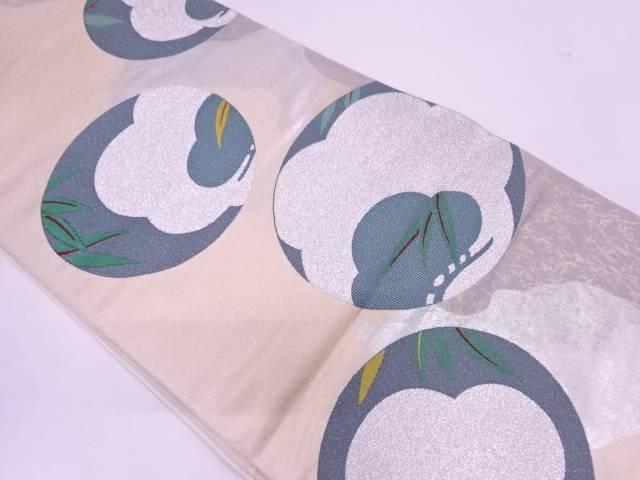 リサイクル 漆箔丸紋に松・葉模様織出し袋帯【送料無料】