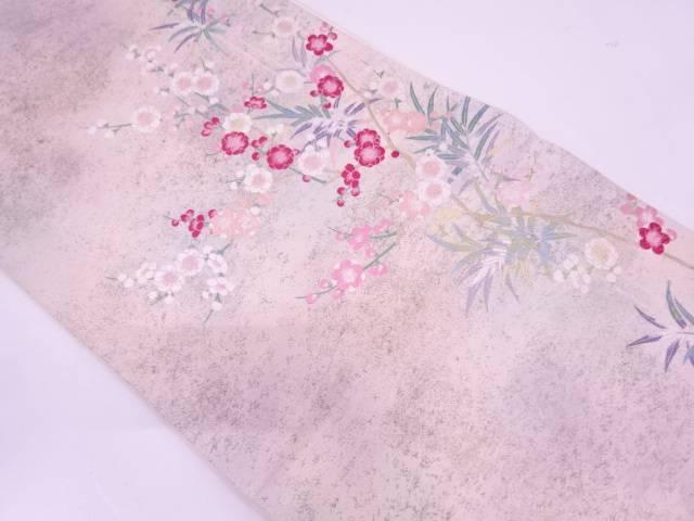 リサイクル 竹笹に枝梅模様織出し袋帯【送料無料】