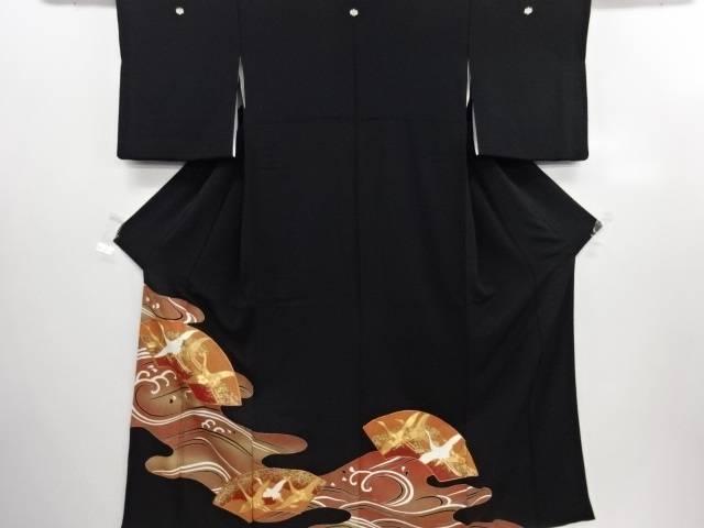 リサイクル 金彩地紙に群鶴模様刺繍留袖(比翼付き)【送料無料】