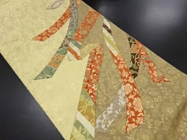 リサイクル 未使用品 切りばめ熨斗に名物裂織り出し袋帯(未仕立て)【送料無料】