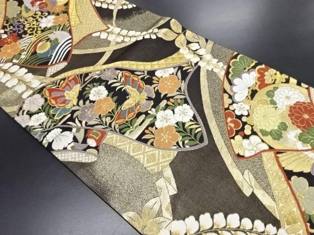 リサイクル 本金誰が袖に花鳥模様織り出し袋帯【送料無料】