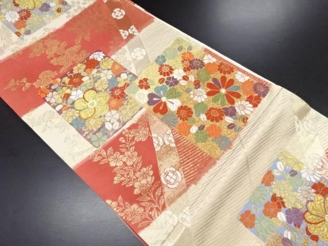 リサイクル 金糸色紙に花模様織り出し袋帯【送料無料】