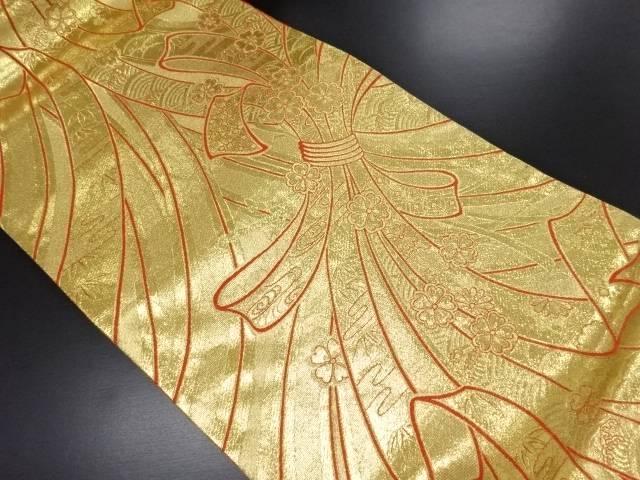 リサイクル 本金束ね熨斗に桜模様織り出し全通袋帯【送料無料】