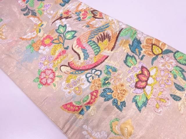 リサイクル モール花鳥模様織出し袋帯【送料無料】