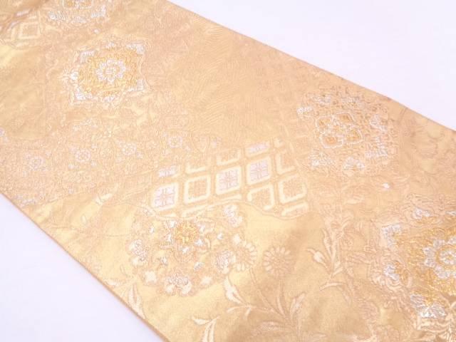 【セール30%オフ】リサイクル 七宝に草花模様織出し袋帯【送料無料】