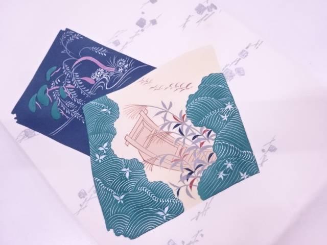 リサイクル 塩瀬破れ色紙に小舟・草花模様名古屋帯(松葉仕立て)【送料無料】