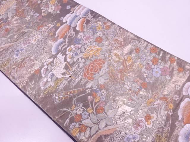 リサイクル 相良蘇州刺繍流水に鶴・草花模様袋帯【送料無料】