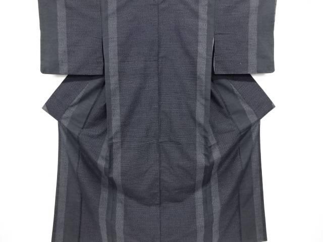 リサイクル 縞模様織り出し本真綿結城紬100亀甲着物【送料無料】
