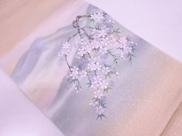 リサイクル 手描き桜模様袋帯 【送料無料】