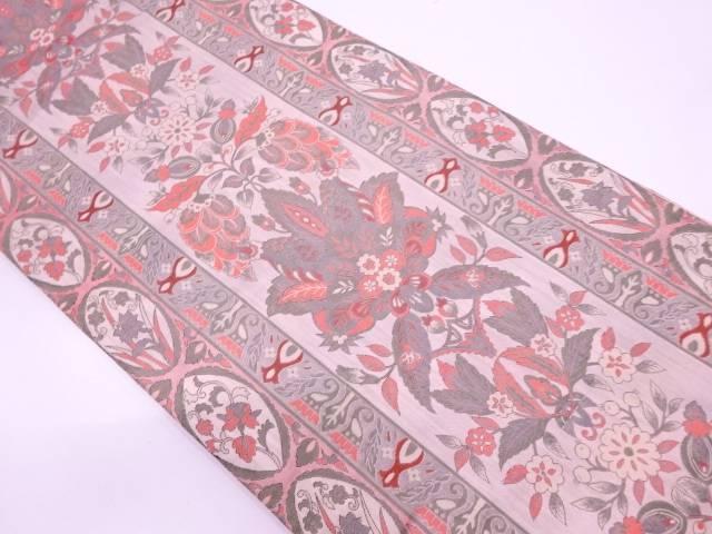 【セール30%オフ】リサイクル 縞に草花模様織出し袋帯【送料無料】