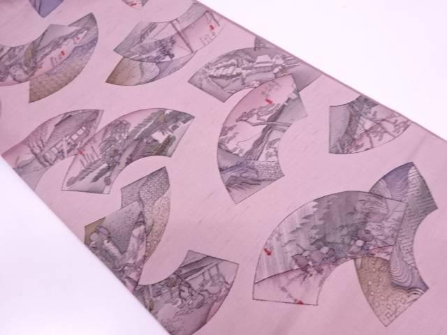 リサイクル 牛首紬地紙に東海道五十三次模様全通袋帯【送料無料】