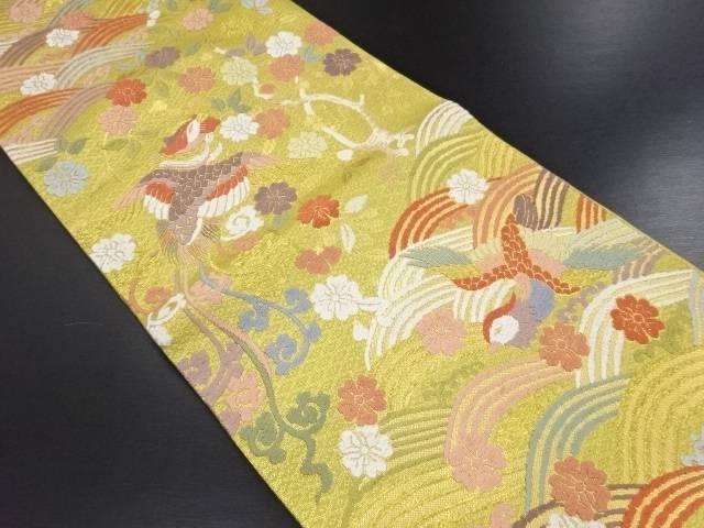 リサイクル 本金唐織佐賀錦波に鳳凰・桜模様織り出し袋帯【送料無料】