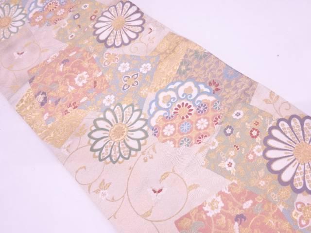 リサイクル 色紙に花唐草・蝶模様織出し袋帯【送料無料】