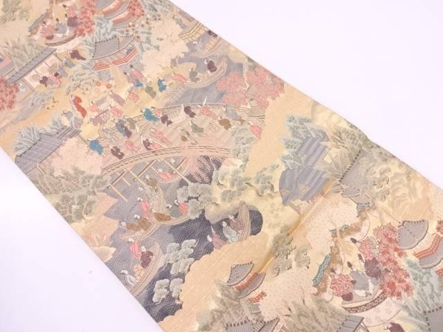 【セール30%オフ】リサイクル 時代人物風景模様織出し袋帯【送料無料】
