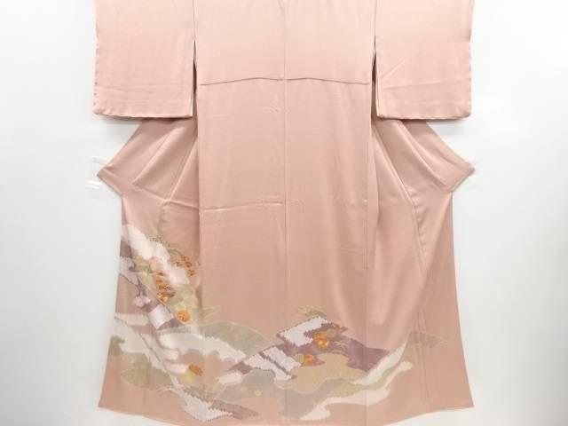 リサイクル 金彩 絞り 霞に松梅菊模様刺繍三つ紋色留袖(比翼付き)【送料無料】