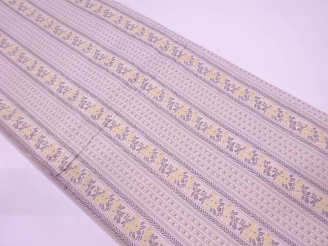 リサイクル 縞に草花模様織出し開き名古屋帯(額縁仕立て) 【送料無料】