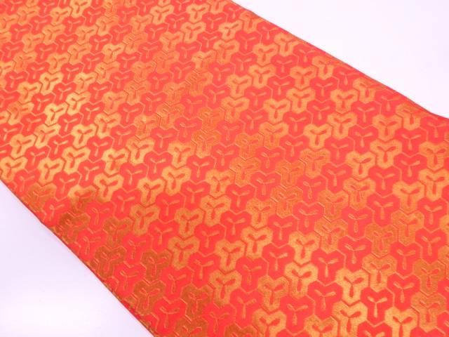 リサイクル 龍村美術織物製 毘沙門亀甲模様織出し開き名古屋帯(額縁仕立て)【送料無料】