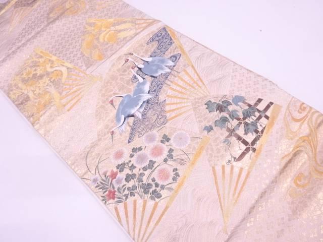 リサイクル 本金箔扇面に花鳥模様織出し袋帯【送料無料】