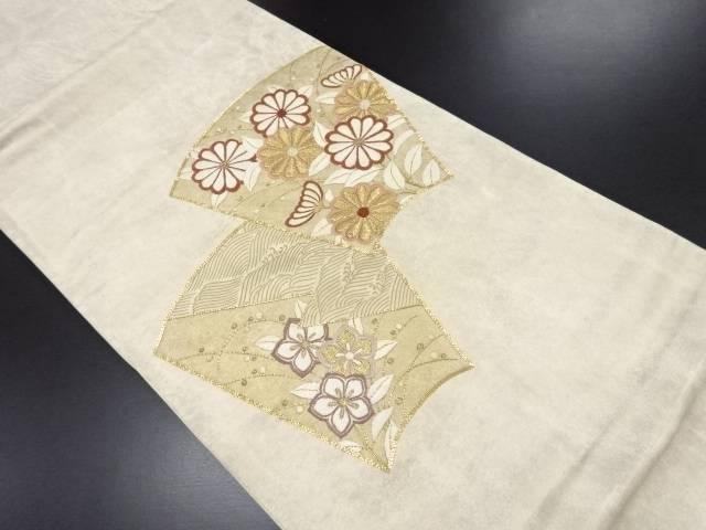 リサイクル 金糸地紙に菊・花模様刺繍袋帯【送料無料】