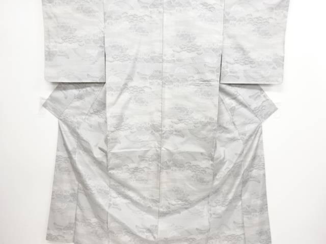リサイクル 未使用品 家屋に太鼓橋模様織り出し本場白大島紬着物(7マルキ)【送料無料】