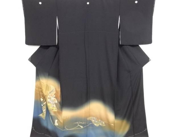 リサイクル 金彩誰が袖に扇・花・古典柄刺繍留袖(比翼付き)【送料無料】