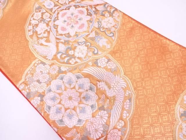 リサイクル 未使用品 純金箔華紋に鳳凰・花唐草模様織出し袋帯【送料無料】