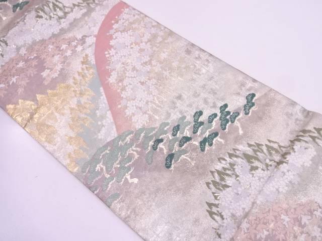 リサイクル 山並みに笠松風景模様織出し袋帯【送料無料】