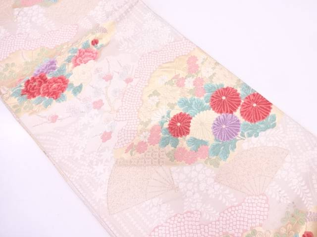 リサイクル 草花に扇模様織出し袋帯【送料無料】
