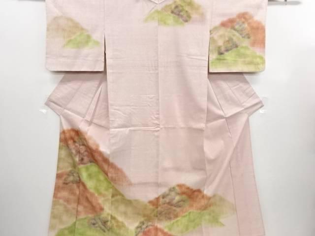 リサイクル 遠山模様手織り真綿紬単衣訪問着【送料無料】