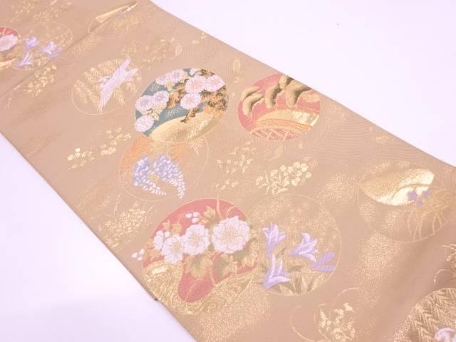 【セール30%オフ】リサイクル 丸紋に鶴・草花模様織出し袋帯【送料無料】