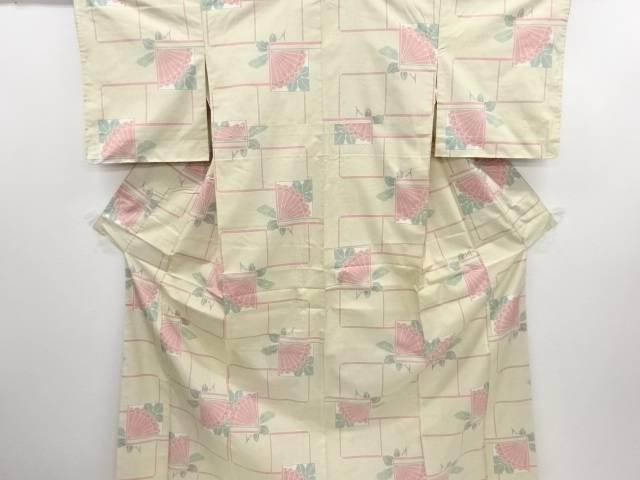 リサイクル 未使用品 幾何学に花模様織り出し本場白大島紬着物【送料無料】