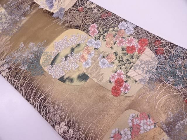 リサイクル 地紙に垣・草花模様織出し袋帯【送料無料】